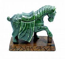 CHINESE NEPHRITE CERMONIAL HORSE FIGURE