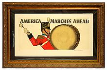 NORMAN ROCKWELL SIGNED LITHO AMERICA MARCHES AHEAD