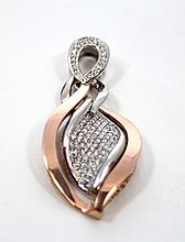 LADIES 14K WHITE & YELLOW GOLD  DIAMOND PENDENT