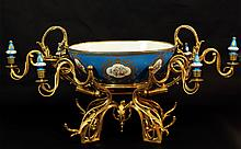 ANTIQUE SEVRES BRONZE & PORCELAIN CENTER PIECE