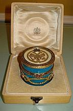 RUSSIAN SILVER GUILLOCHE ROUND ENAMELED BOX