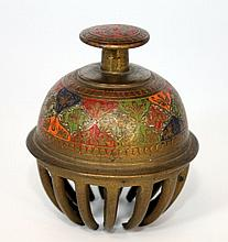 CHINESE BRASS & ENAMEL GOOD LUCK BELL