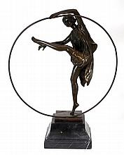 ART DECO BRONZE HOOP DANCER SIGNED GODARD