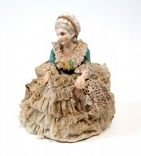 ANTIQUE DRESDEN PORCELAIN LACE FIGURINE