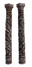 Pr19th CENTURY CONTINENTAL CARVED WOODEN COLUMNS