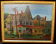 HARRY DIX OIL PAINTING ON CANVAS OF STREET SCENE