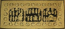 PALATIAL THAI GOLD & SILVER THREADED GODS TAPESTRY