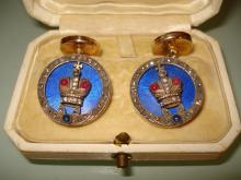 PAIR OF 14K GOLD RUSSIAN ENAMELED CUFFLINKS