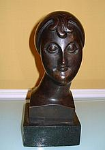 ELIE NADELMAN BRONZE BUST (AMERICAN 1885- 1946 HEAD OF WOMAN