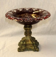 ANTIQUE CONTINENTAL CUT RUBY GLASS CENTERPIECE