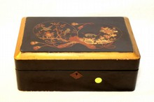 ANTIQUE MEIJI WOODEN INLAY JAPANESE LAP DESK