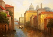 OIL ON CANVAS PAINTING VENICE WATER SCENE