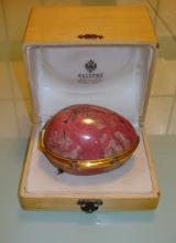 RUSSIAN RHODONITE STONE & SILVER HINGED EGG BOX