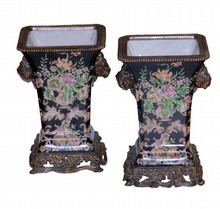 PR OF CHINESE  PORCELAIN AND BRONZE FLORAL VASES