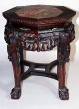 ANTIQUE CHINESE MARBLE TOP CARVED TEAK WOOD TABLE