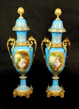 PAIR OF ANTIQUE SEVRES  PORCELAIN AND BRONZE URNS