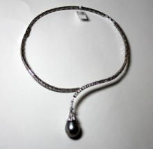 18K WHITE GOLD DIAMOND & PEARL NECKLACE
