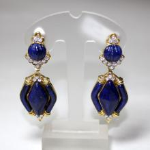 PAIR OF DIA LAPIS DAVID WEBB STYLE EARRINGS