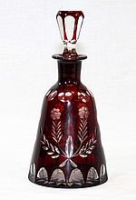 ANTIQUE CRANBERRY COLORED BOHEMIAN DECANTER