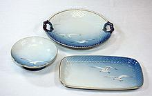 3 LOT DANISH B&G COPENHAGEN PORCELAIN BOWL & TRAY