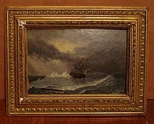 19TH C RUSSIAN OIL ON BOARD IVAN AIVAZOVSKY