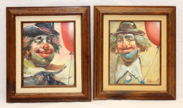 PR W. MONINET OIL ON CANVAS CLOWN FACES