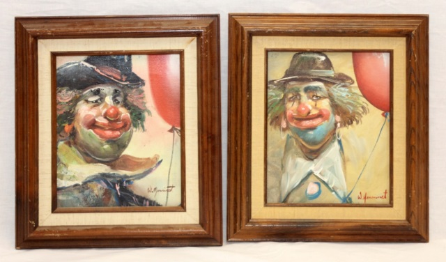 PAIR OF W. MONINET OIL ON CANVAS CLOWN PORTRAITS
