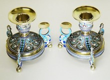 RUSSIAN IMPERIAL SILVER ENAMEL CANDLESTICKS