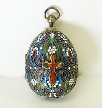 RUSSIAN SILVER ENAMEL EGG WITH ICON