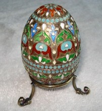 RUSSIAN IMPERIAL SILVER ENAMELED EGG WITH STAND