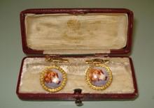 Antique Russian gold enamel pair of cufflinks