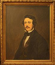 19th C OIL ON CANVAS LAID ON BOARD OF PORTRAIT