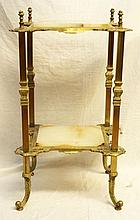 ANTIQUE FRENCH GILT BRONZE WHITE ONYX 2 TIER TABLE