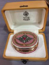 RUSSIAN 14K GUILLOCHE OVAL ENAMELED BOX