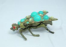 ANTIQUE BRASS AND TURQUOISE FLY PILL BOX