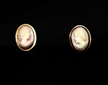 PR OF 14K GOLD CAMEO EARRINGS