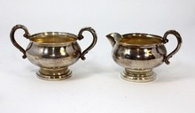 ANTIQUE FISHER STERLING CREAMER & SUGAR BOWL