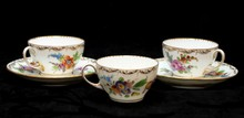 DRESDEN PORCELAIN TEA CUPS & SAUCERS