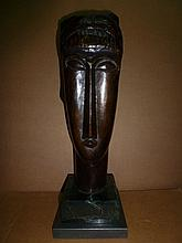 AMEDEO MODIGLIANI ITALIAN HUGE BRONZE SCULPTURE