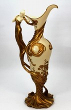 COMPOSITE ART NOUVEAU FIGURAL HANDLE EWER