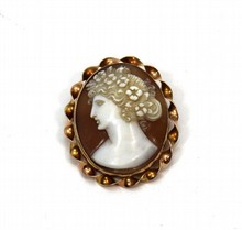 VINTAGE 10K YELLOW GOLD CAMEO PIN