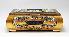 ITALIAN 800 SILVER AND LAPIS GILT HINGED BOX