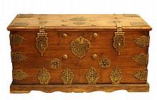 OLD ASIAN CRAFTED BRASS CLAD DOUBLE CLASP CHEST