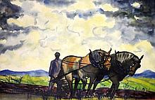 NICK EGGENHOGER WATERCOLOR ON PAPER 'PLOUGHMAN'