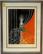 ERTE ORIGINAL LITHOGRAPH 'PRINTEMPS' IN FRAME
