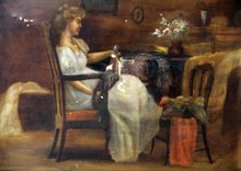 ANTIQUE OIL PAINTING ON CANVAS OF INTERIOR SCENE