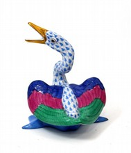 HEREND PORCELAIN BLUE FISHNET DUCK FIGURE