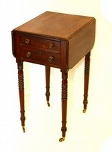19TH C CHERRY 2 DRAW WORK TABLE NIGHT STAND