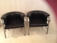 PR MATCHING INDUSTRIAL ERA METAL & LEATHER CHAIRS