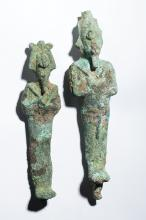 Lot of 2 Ancient Egyptian Figures of Osiris Late period